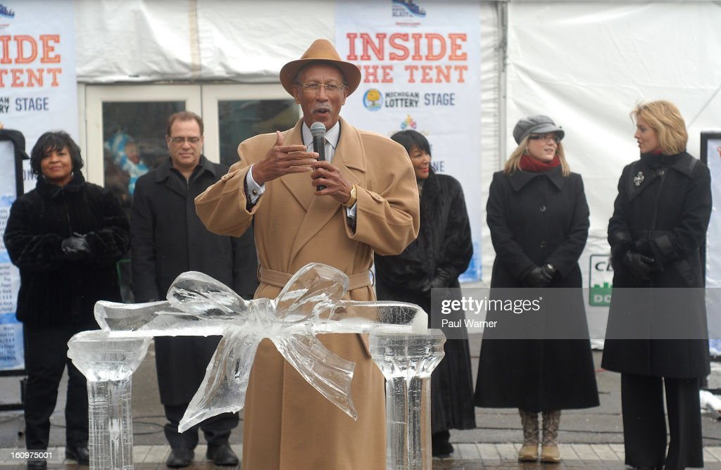 Detroit Mayor Dave Bing addresses reporters during an opening ceremony at Motown Winter Blast at Campus Martius Park on February 8, 2013 in Detroit, Michigan.