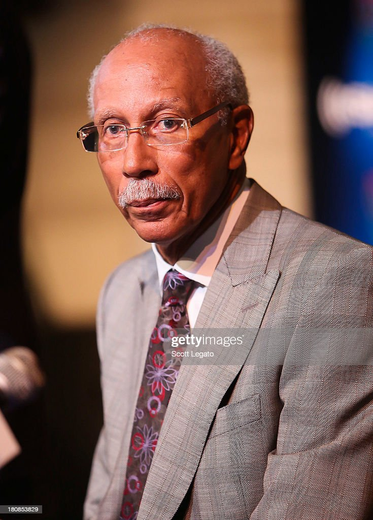 Detroit Mayor <a gi-track='captionPersonalityLinkClicked' href=/galleries/search?phrase=Dave+Bing&family=editorial&specificpeople=589690 ng-click='$event.stopPropagation()'>Dave Bing</a> speaks at Charles H. Wright Museum of African American History on September 16, 2013 in Detroit, Michigan.