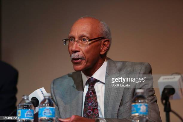 Detroit Mayor Dave Bing speaks at Charles H Wright Museum of African American History on September 16 2013 in Detroit Michigan