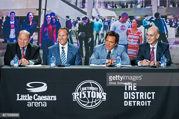 Detroit Mayor Mike Duggan Ilitch Holdings Inc President and CEO Chris Ilitch Owner of the Detroit Pistons Tom Gore and NBA Commissioner Adam Silver...