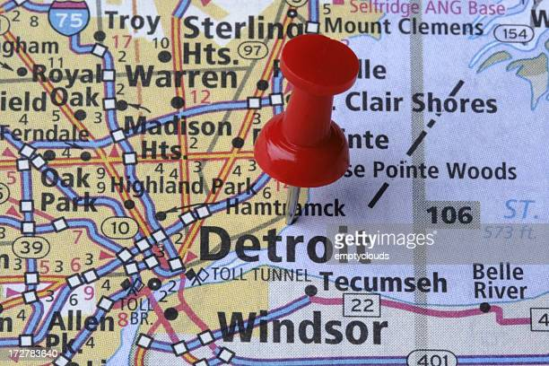 Detroit, Michigan on a map.