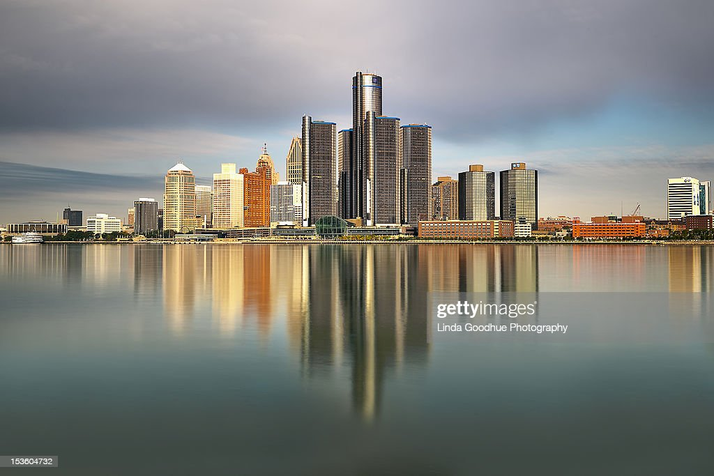 Detroit Michigan skyline reflections