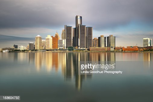 Detroit Michigan skyline reflections