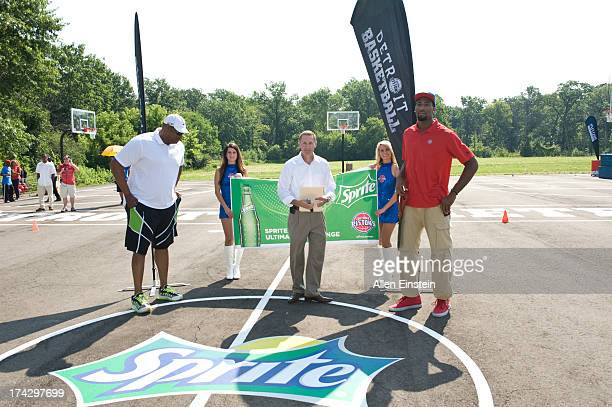 Detroit Piston Andre Drummond and Pistons Legend Rick Mahorn unveil renovated basketball courts as part of Metro Detroit Youth Day on July 17 2013 at...