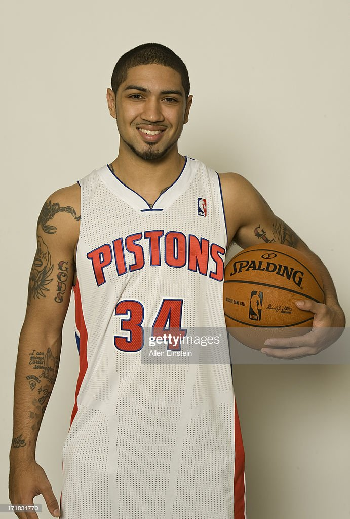 Detroit Pistons 2013 Draft Choice, <a gi-track='captionPersonalityLinkClicked' href=/galleries/search?phrase=Peyton+Siva&family=editorial&specificpeople=5792001 ng-click='$event.stopPropagation()'>Peyton Siva</a> #34 smiles for a photograph on June 28, 2013 at Palace of Auburn Hills in Auburn Hills, Michigan.