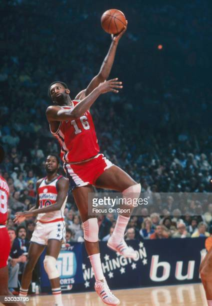 Detroit Pistons' Bob Lanier jumps for a layup against the Washington Bullets at Capital Centre circa 1977 in Washington DC NOTE TO USER User...