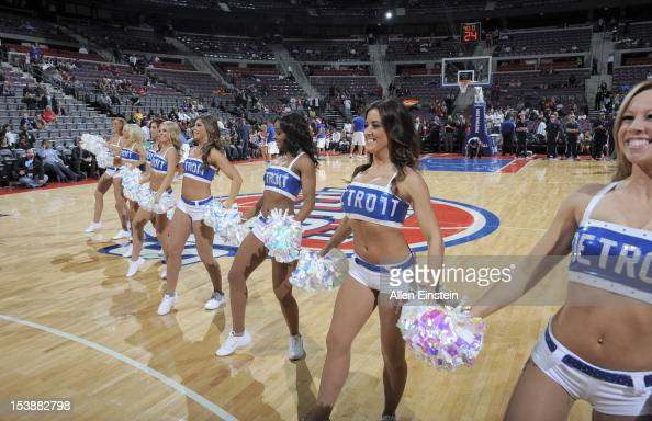 Detroit Pistons dancers perform during the game between the Detroit Pistons of the Toronto Raptors on October 10 2012 at The Palace of Auburn Hills...