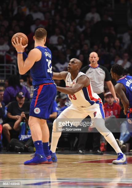 Detroit Pistons Forward Anthony Tolliver guards Los Angeles Clippers Forward Blake Griffin during an NBA game between the Detroit Pistons and the Los...