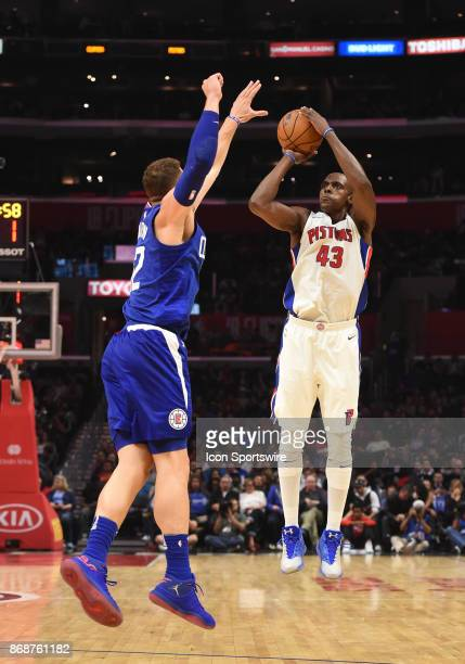 Detroit Pistons Forward Anthony Tolliver shoots over Los Angeles Clippers Forward Blake Griffin during an NBA game between the Detroit Pistons and...