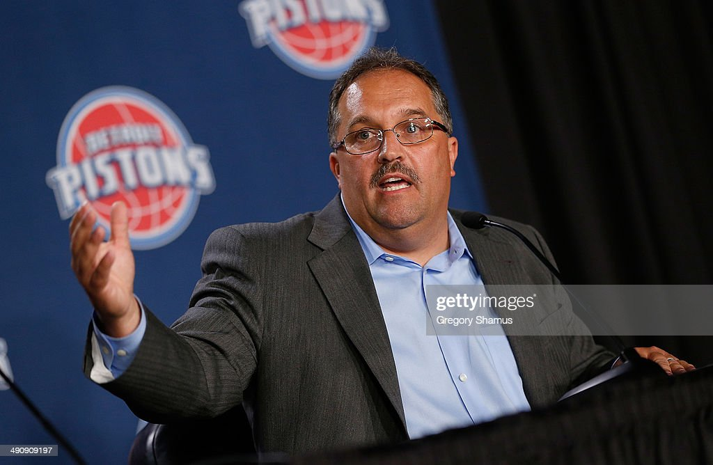 Detroit Pistons head coach and President of Basketball Operations Stan Van Gundy talks during his introductory press conference at the Palace of...