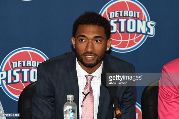 Detroit Pistons introduce 2015 Draft Picks Darrun Hilliard at a press conference on June 27 2015 at the Palace of Auburn Hills in Auburn Hills...