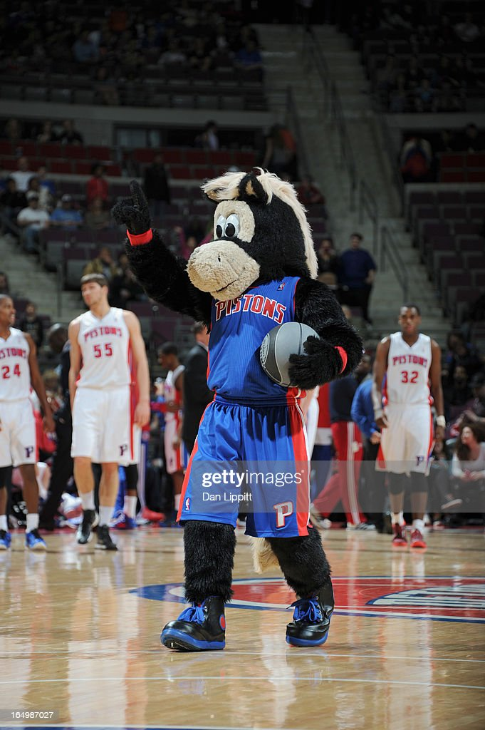 A Detroit Pistons mascot is seen during the game between the Detroit Pistons and the Toronto Raptors on March 29, 2013 at The Palace of Auburn Hills in Auburn Hills, Michigan.