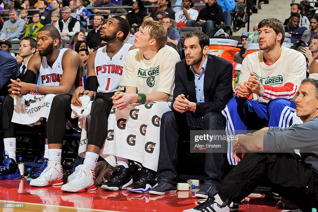 Detroit Pistons players, from left, Greg Monroe #10, Andre Drummond #1, Kyle Singler #25, Jose Calderon #8 and Viacheslav Kravtsov #55 look on from the bench during a game against the Chicago Bulls on April 7, 2013 at The Palace of Auburn Hills in Auburn Hills, Michigan.