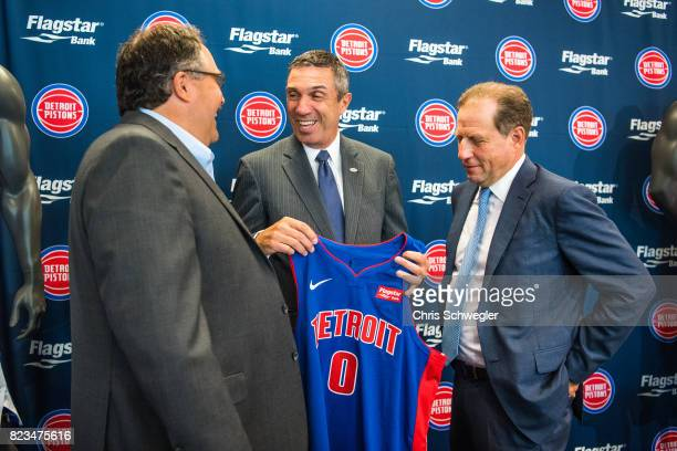 Detroit Pistons president of operations Stan Van Gundy CEO of Flagstaff Bank Alessandro P DiNello and Vice Chairman of the Pistons and Palace Sports...