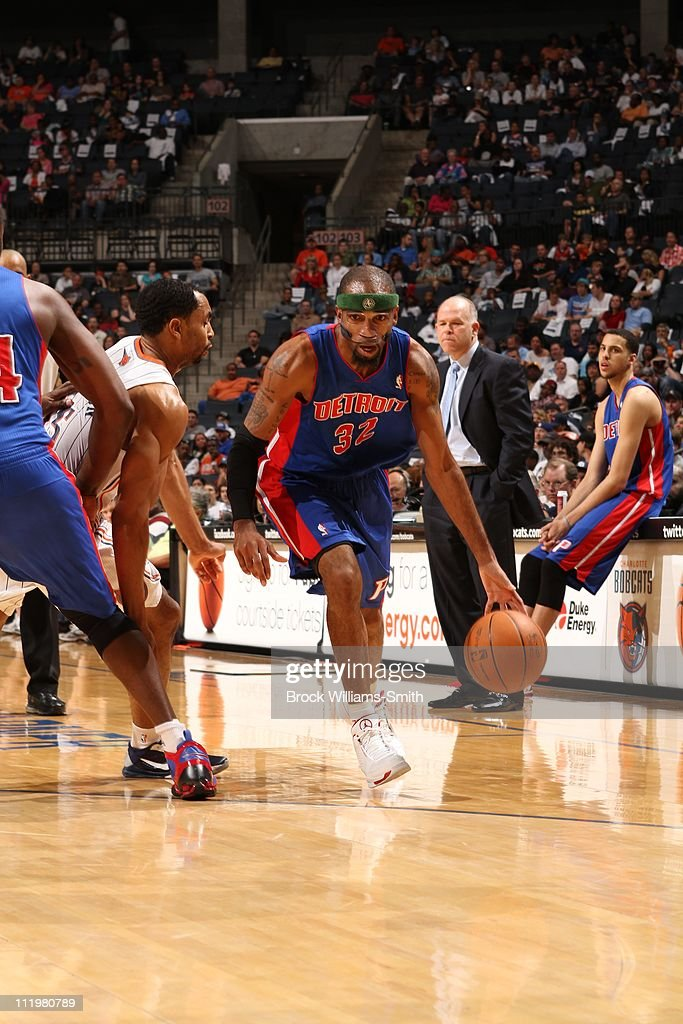 Detroit Pistons shooting guard <a gi-track='captionPersonalityLinkClicked' href=/galleries/search?phrase=Richard+Hamilton+-+Basketball+Player&family=editorial&specificpeople=201498 ng-click='$event.stopPropagation()'>Richard Hamilton</a> #32 brings the ball up court during the game against the Charlotte Bobcats on April 10, 2011 at Time Warner Cable Arena in Charlotte, North Carolina. The Pistons won 112-101.