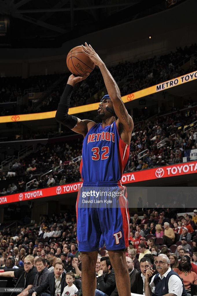Detroit Pistons shooting guard <a gi-track='captionPersonalityLinkClicked' href=/galleries/search?phrase=Richard+Hamilton+-+Basketball+Player&family=editorial&specificpeople=201498 ng-click='$event.stopPropagation()'>Richard Hamilton</a> #32 goes for a jump shot during the game against the Cleveland Cavaliers at The Quicken Loans Arena on March 25, 2011 in Cleveland, Ohio. The Cavaliers won 97-91.