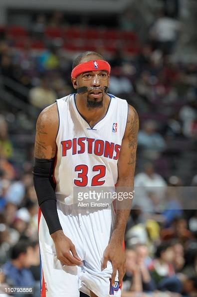Detroit Pistons shooting guard Richard Hamilton looks on during a game against the Miami Heat on March 23 2011 at The Palace of Auburn Hills in...