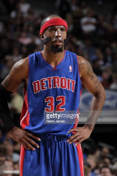 Detroit Pistons shooting guard Richard Hamilton looks on during the game against the Dallas Mavericks on November 23 2010 at the American Airlines...