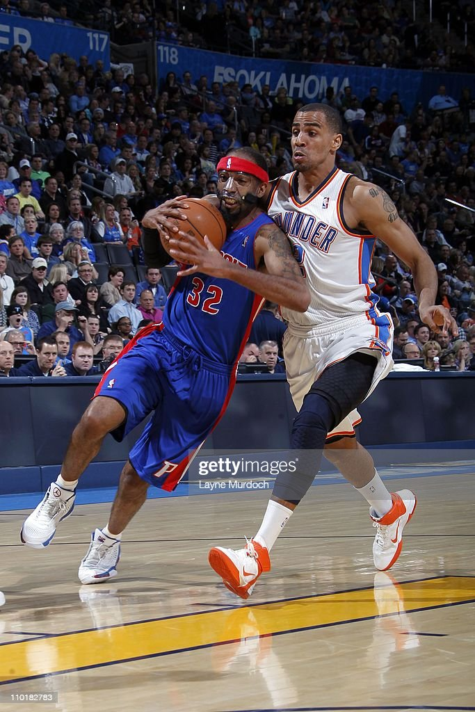 Detroit Pistons shooting guard <a gi-track='captionPersonalityLinkClicked' href=/galleries/search?phrase=Richard+Hamilton+-+Basketball+Player&family=editorial&specificpeople=201498 ng-click='$event.stopPropagation()'>Richard Hamilton</a> #32 protects the ball during the game against the Oklahoma City Thunder on March 11, 2011 at the Oklahoma City Arena in Oklahoma City, Oklahoma. The Thunder won 104-94.