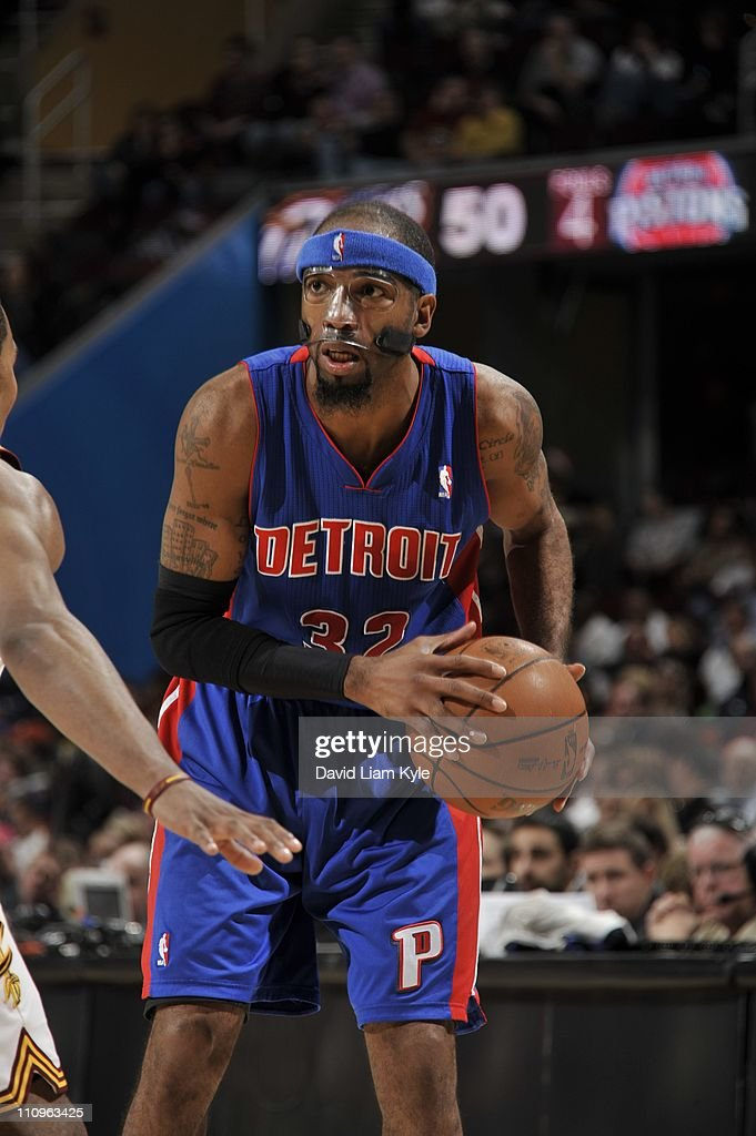 Detroit Pistons shooting guard <a gi-track='captionPersonalityLinkClicked' href=/galleries/search?phrase=Richard+Hamilton+-+Basketball+Player&family=editorial&specificpeople=201498 ng-click='$event.stopPropagation()'>Richard Hamilton</a> #32 protects the ball during the game against the Cleveland Cavaliers at The Quicken Loans Arena on March 25, 2011 in Cleveland, Ohio. The Cavaliers won 97-91.
