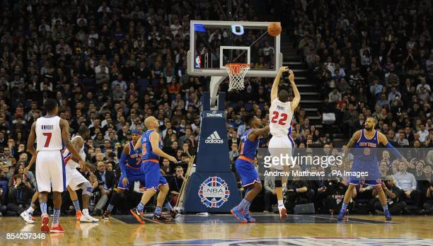 Detroit Pistons' Tayshaun Prince has a shot during the 2013 NBA London Live match at the O2 Arena London