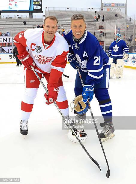 Detroit Red Wings alumni Nicklas Lidstrom and Toronto Maple Leafs alumni Borje Salming pose for a photo during the 2017 Rogers NHL Centennial Classic...