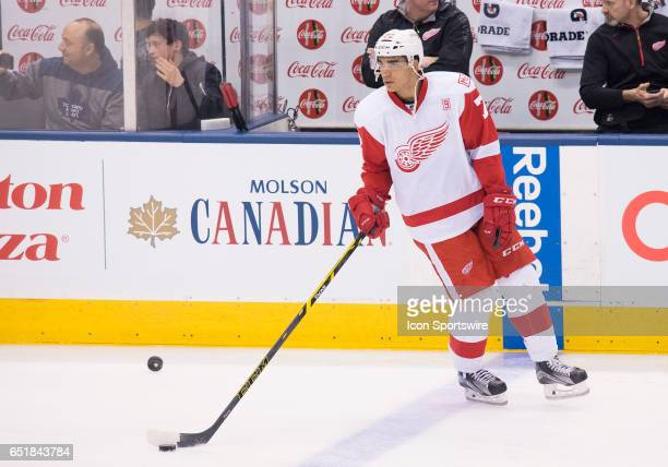 Detroit Red Wings center Andreas Athanasiou skates during the warm up before a game against the Toronto Maple Leafs at Air Canada Centre in Toronto...