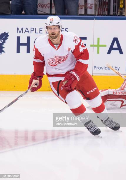 Detroit Red Wings center Darren Helm skates during the warm up before a game against the Toronto Maple Leafs at Air Canada Centre in Toronto Ontario...