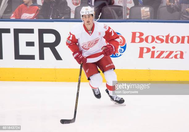 Detroit Red Wings center Dylan Larkin skates during the warm up before a game against the Toronto Maple Leafs at Air Canada Centre in Toronto Ontario...