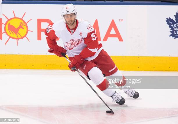Detroit Red Wings center Frans Nielsen skates during the warm up before a game against the Toronto Maple Leafs at Air Canada Centre in Toronto...