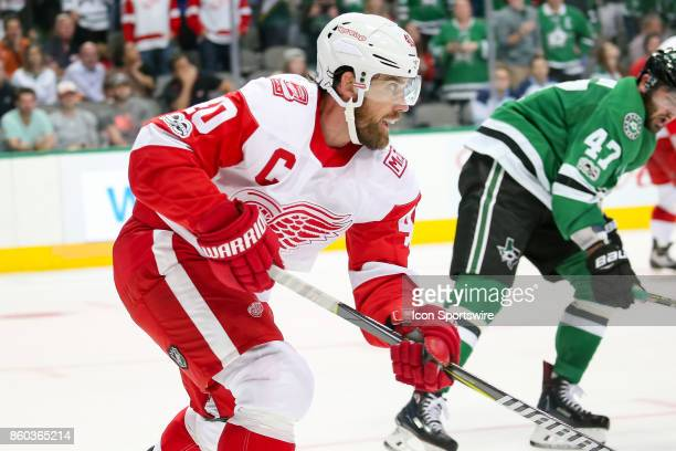 Detroit Red Wings Center Henrik Zetterberg during the NHL game between the Detroit Red Wings and Dallas Stars on October 10 2017 at the American...