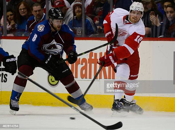 Detroit Red Wings center Joakim Andersson gets a pass to a team mate around the defense of Colorado Avalanche defenseman Jan Hejda during the first...
