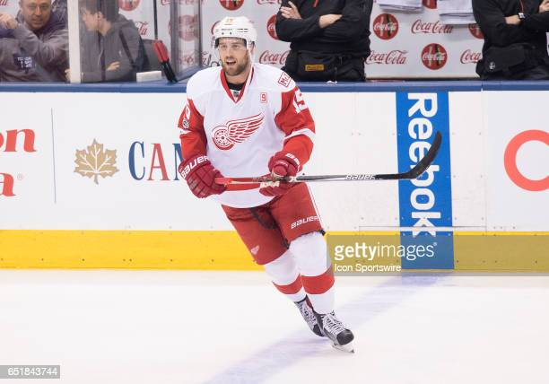 Detroit Red Wings center Riley Sheahan skates during the warm up before a game against the Toronto Maple Leafs at Air Canada Centre in Toronto...