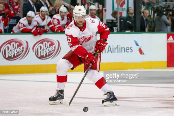 Detroit Red Wings Defenceman Mike Green handles a loose puck during the NHL game between the Detroit Red Wings and Dallas Stars on October 10 2017 at...