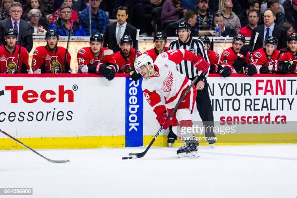 Detroit Red Wings Defenceman Robbie Russo shoots the puck from the point during first period National Hockey League action between the Detroit Red...