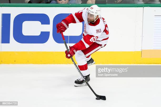 Detroit Red Wings Defenceman Trevor Daley takes a wrist shot during the NHL game between the Detroit Red Wings and Dallas Stars on October 10 2017 at...