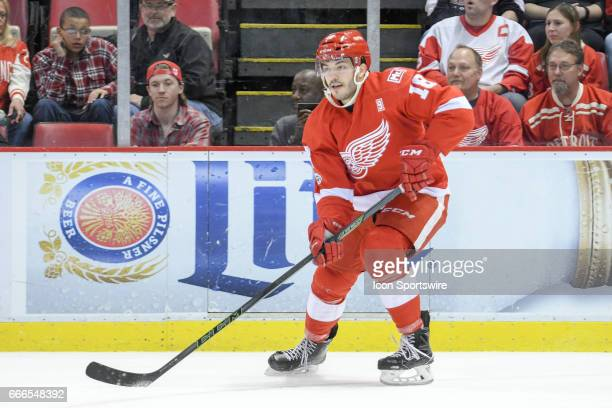 Detroit Red Wings defenseman Robbie Russo moves up ice with the puck during the NHL hockey game between the Montreal Canadiens and Detroit Red Wings...