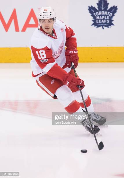 Detroit Red wings defenseman Robbie Russo skates during the warm up before a game against the Toronto Maple Leafs at Air Canada Centre in Toronto...