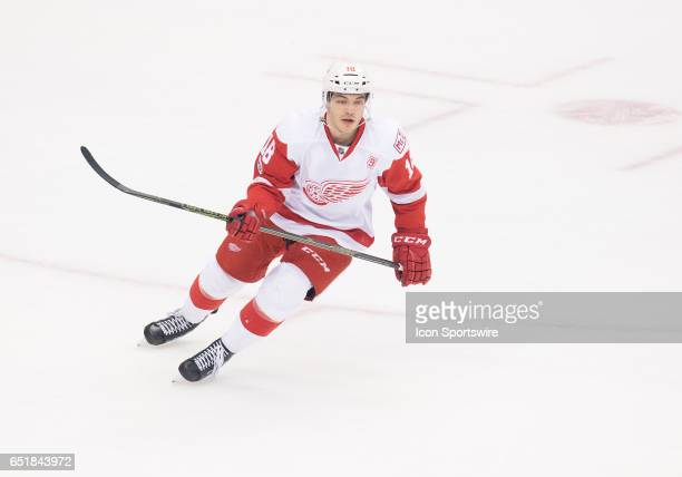 Detroit Red Wings defensemen Robbie Russo skates up ice during the first period in a game against the Toronto Maple Leafs at Air Canada Centre in...