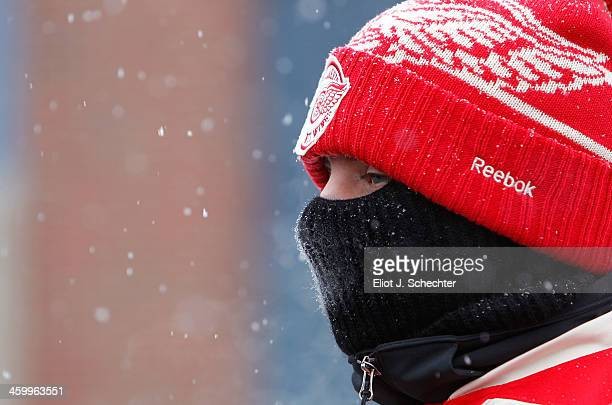 Detroit Red Wings fan attends the 2014 Bridgestone NHL Winter Classic on January 1 2014 at Michigan Stadium in Ann Arbor Michigan