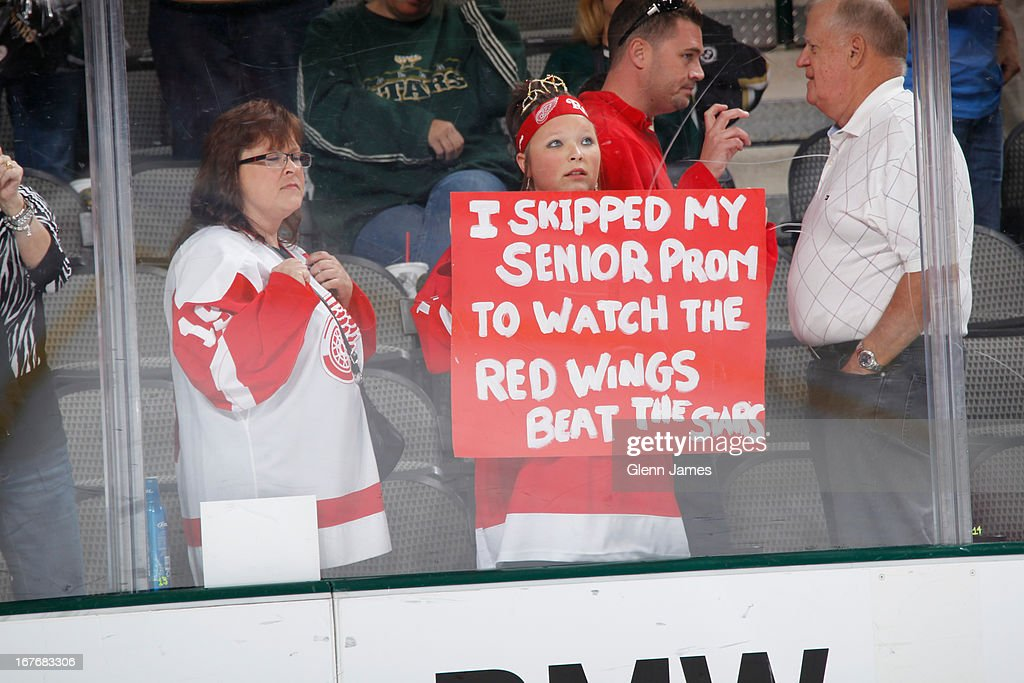 Detroit Red Wings fans show their support on the road in Dallas against the Dallas Stars at the American Airlines Center on April 27, 2013 in Dallas, Texas.