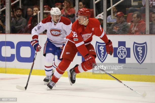 Detroit Red Wings forward Anthony Mantha chases after the puck during a regular season NHL hockey game between the Montreal Canadiens and the Detroit...