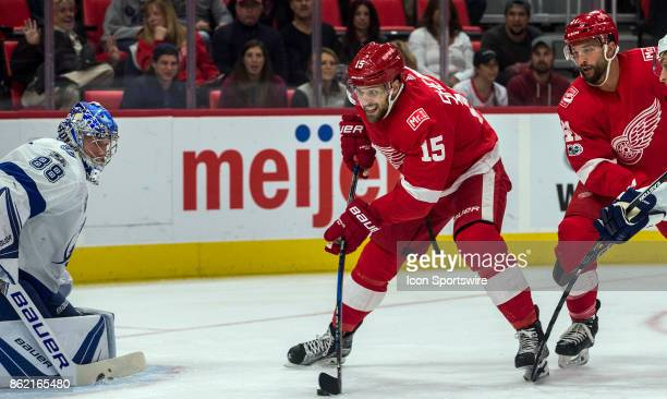 Detroit Red Wings forward Riley Sheahan shoots on goal defended by Tampa Bay Lightning goaltender Andrei Vasilevskiy in the first period of the Tampa...