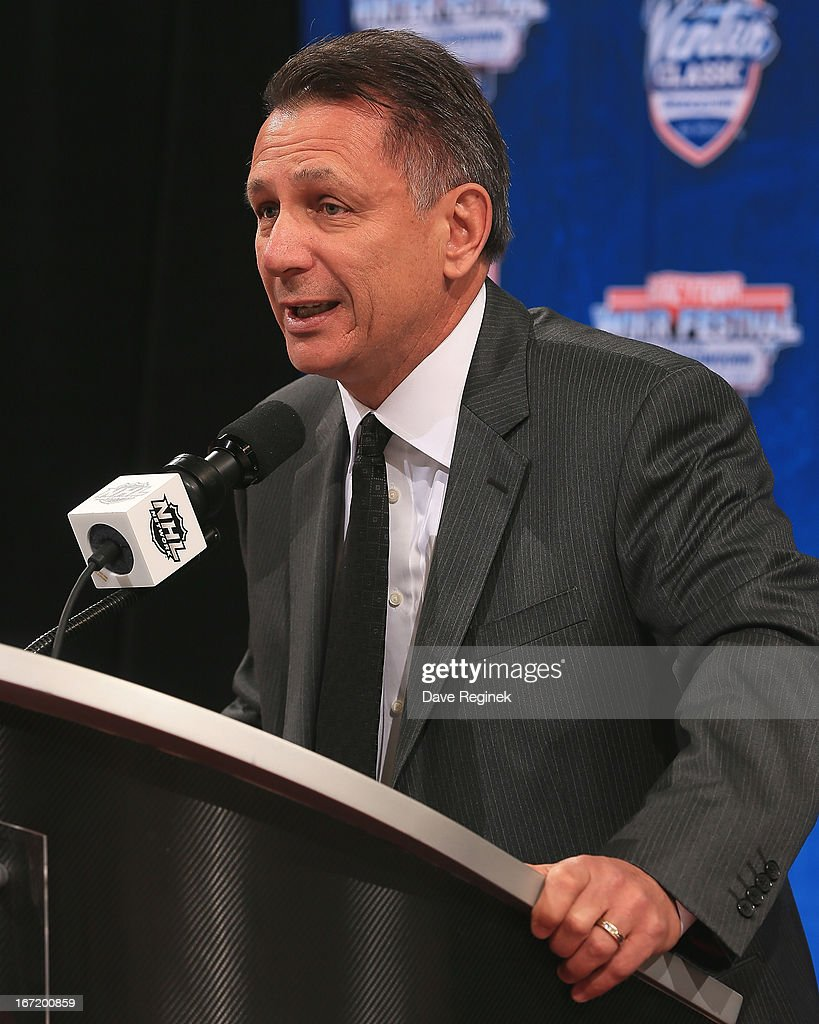 Detroit Red Wings general manager <a gi-track='captionPersonalityLinkClicked' href=/galleries/search?phrase=Ken+Holland&family=editorial&specificpeople=543234 ng-click='$event.stopPropagation()'>Ken Holland</a> talks about the 2014 NHL Winter Classic during the Press Announcement on April 7, 2013 at Joe Louis Arena in Detroit, Michigan.