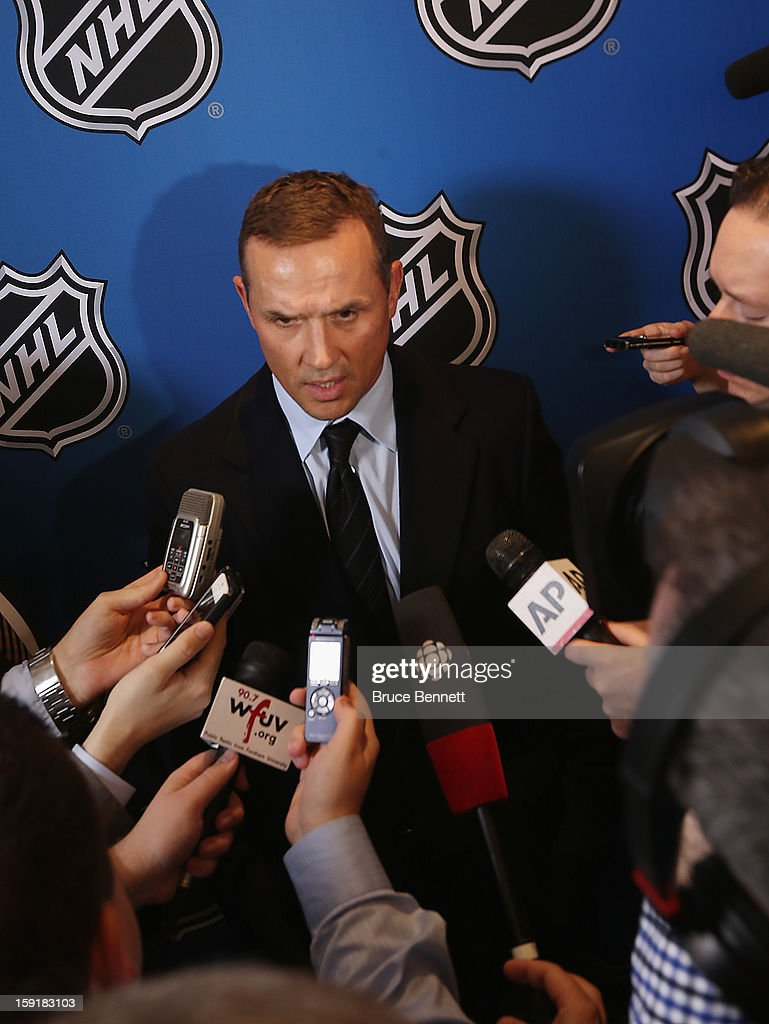 Detroit Red Wings General Manager <a gi-track='captionPersonalityLinkClicked' href=/galleries/search?phrase=Steve+Yzerman&family=editorial&specificpeople=202932 ng-click='$event.stopPropagation()'>Steve Yzerman</a> speaks with the media at a press conference announcing the start of the NHL season at the Westin Times Square on January 9, 2013 in New York City.