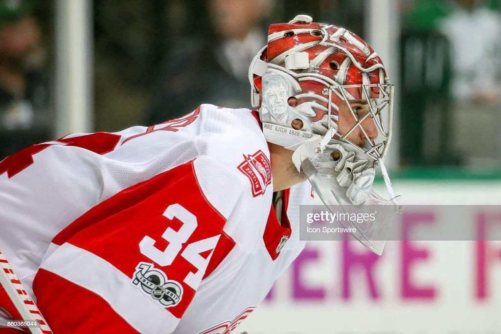 Detroit Red Wings Goalie Petr Mrazek (34) during the NHL game between the Detroit Red Wings and Dallas Stars on October 10, 2017 at the American Airlines Center in Dallas, TX.
