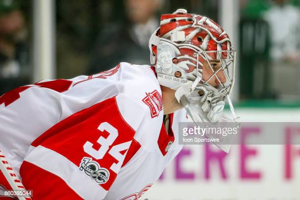 Detroit Red Wings Goalie Petr Mrazek during the NHL game between the Detroit Red Wings and Dallas Stars on October 10 2017 at the American Airlines...