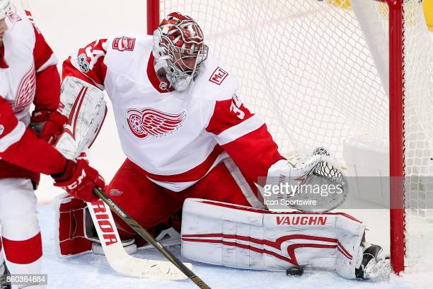 Detroit Red Wings Goalie Petr Mrazek makes a pad save during the NHL game between the Detroit Red Wings and Dallas Stars on October 10 2017 at the...