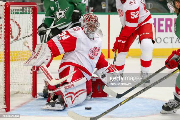 Detroit Red Wings Goalie Petr Mrazek stretches to make a pad save during the NHL game between the Detroit Red Wings and Dallas Stars on October 10...