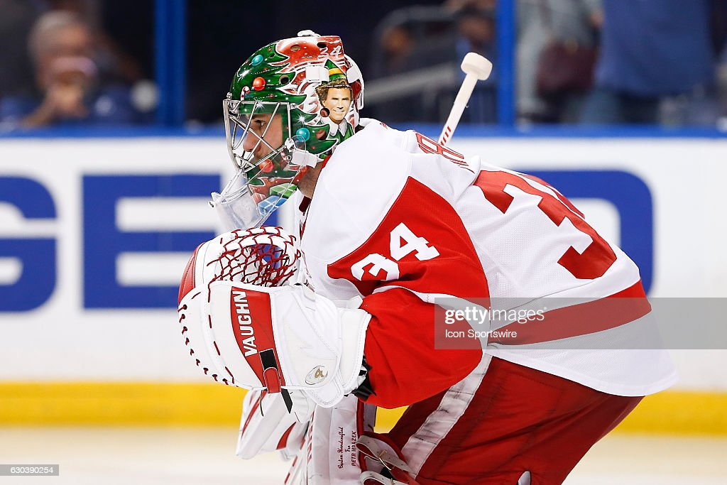 Detroit Red Wings goalie Petr Mrazek (34) wears a christmas themed goalie mask during the NHL game between the Detroit Red Wings and the Tampa Bay Lightning on December 20, 2016, at Amalie Arena in Tampa Florida.
